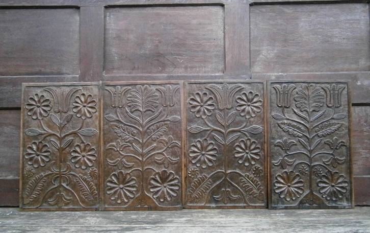 Set of four 17th century panels