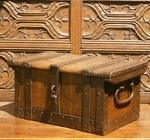 17th Century Oak And Iron Bound Strong Box
