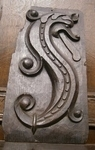 16th Century English Carved Oak Panel Depicting An S-Scrolled Dragon
