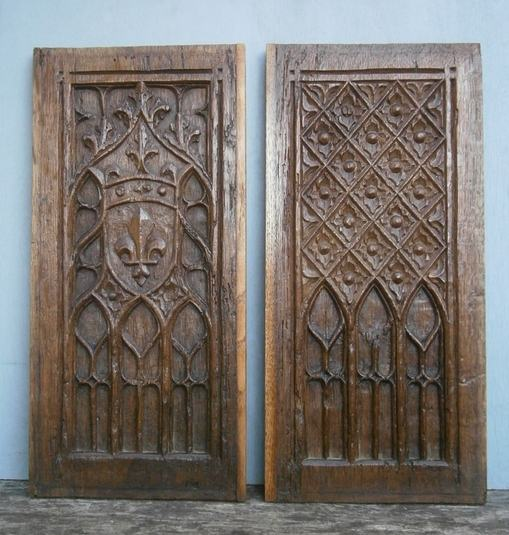 pair of gothic tracery panels a
