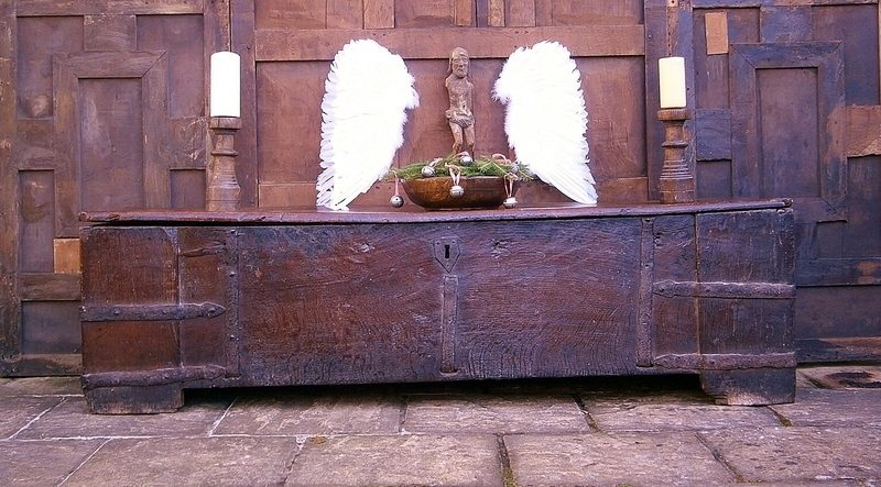 13th century english medieval oak clamp front chest