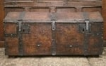 18th century Leather and Iron bound travelling chest