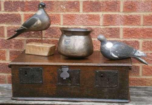 17th century English church box with three locks