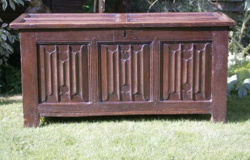 A Henry VIII Period Carved Oak Linenfold Chest
