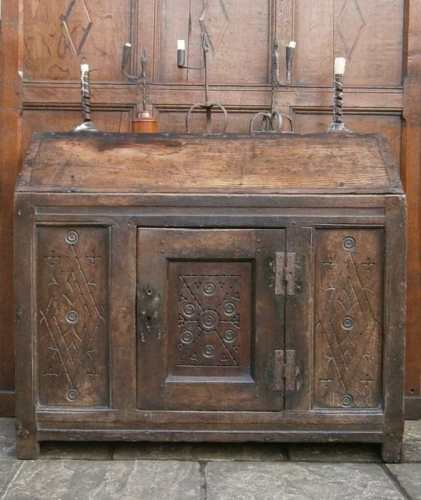 A Rare English 16th Century Oak Dole Cupboard