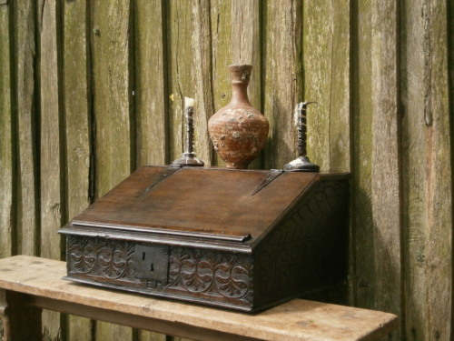 17th century carved oak desk box with initials EA