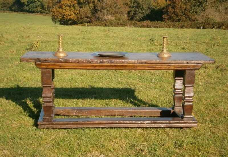 16th century Chestnut Altar Table with Single Plank Top