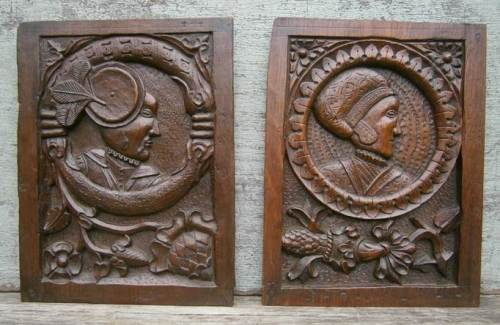 A Wonderful Pair of 16th Century English Oak Romayne panels
