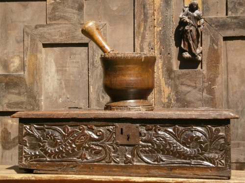 A 16th Century Elizabethan Carved Oak Bible Box With Dolphins