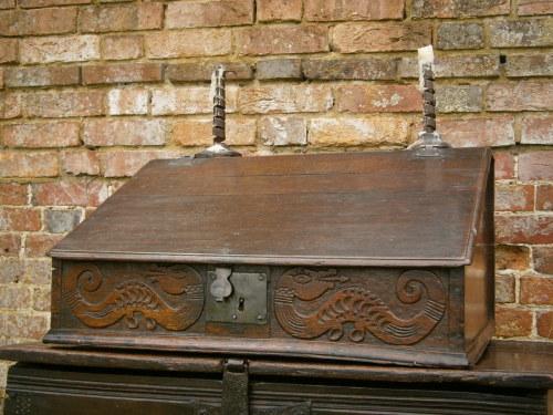 17th Century Carved Oak Desk Box Gloucester Wyverns