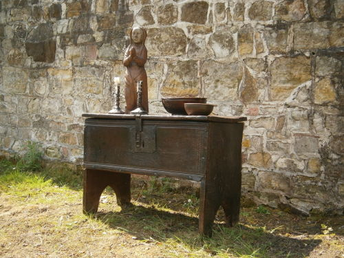 A Rare Henry VIII English Oak Boarded Silver Chest