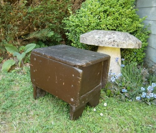 Early 19th Century Welsh Primitive Board Stool With Original Paint