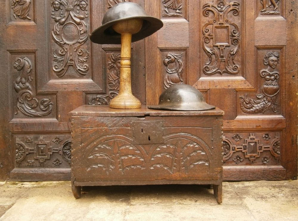 Early 17th Century Child's Carved Oak  Board Chest