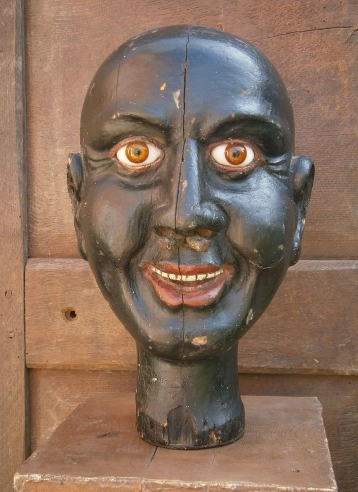 A Rare 19th Century Carved Blackamoor Head Possibly A Tobacconist's Sign