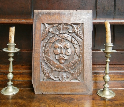 A 16th Century Carved Oak Profile Panel With A Twist.