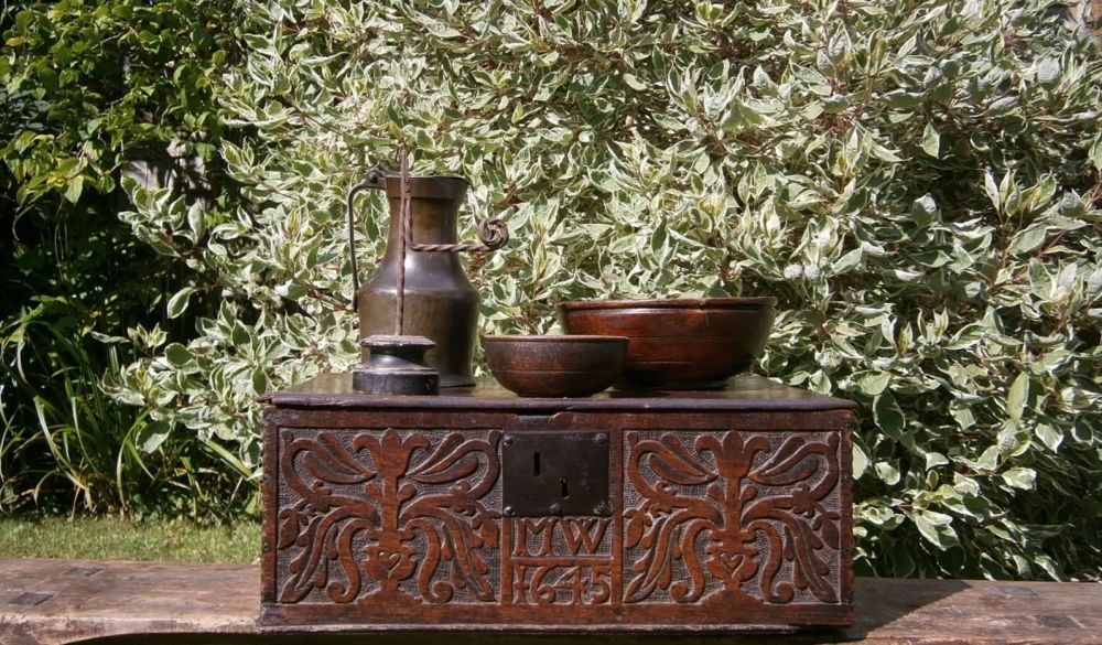 17th Century Dated Carved Oak Bible Box MW 1645.