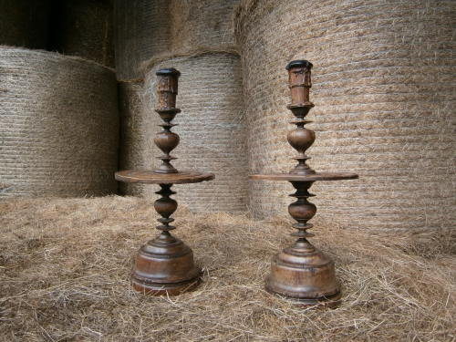 A Fine Pair Of Large 18th Century Turned Walnut Heemskirk Candlesticks