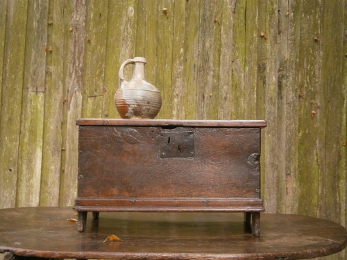 A Wonderful 17th Century Child's Oak Boarded Coffer Only 21