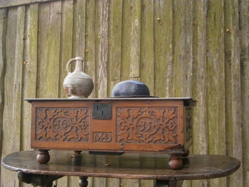 17th century carved oak bible box dated M D 1635