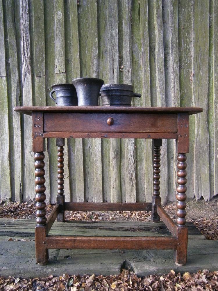 17th Century Oak Side Table With Bobbin Turned Legs