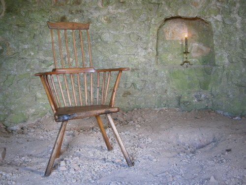 18th Century West Country stick back chair of primitive construction