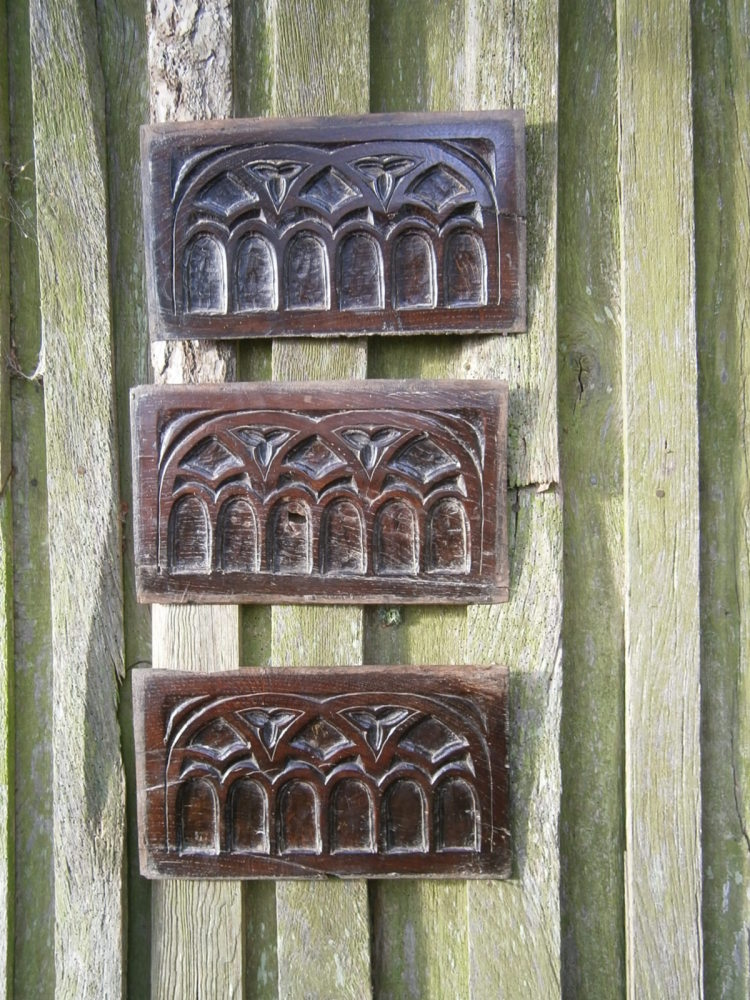 A Set Of Three 16th Century Carved Oak Gothic Tracery Panels