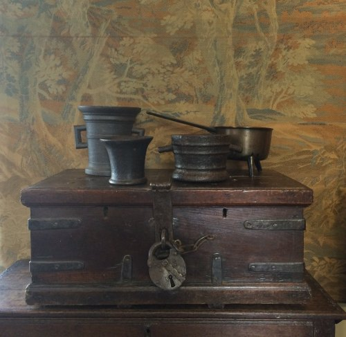 18th Century English Oak And Iron Bound Church Strong Box