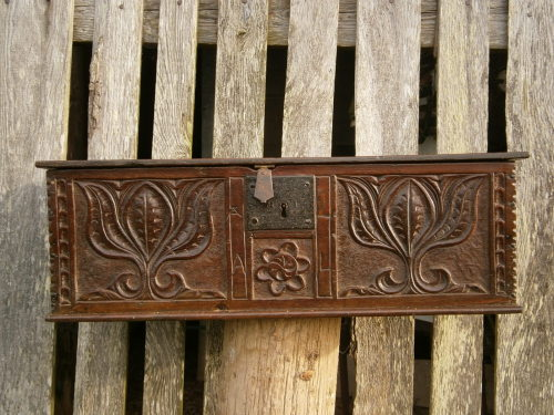 A 17th Century Carved Oak Bible Box Initialed A L