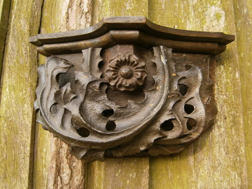 A Rare English Gothic Carved Oak And Polychromed Corbel Depicting The Tudor