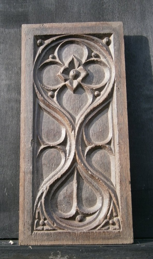 A 16th Century Gothic  Carved Oak Panel Depicting Tracery.
