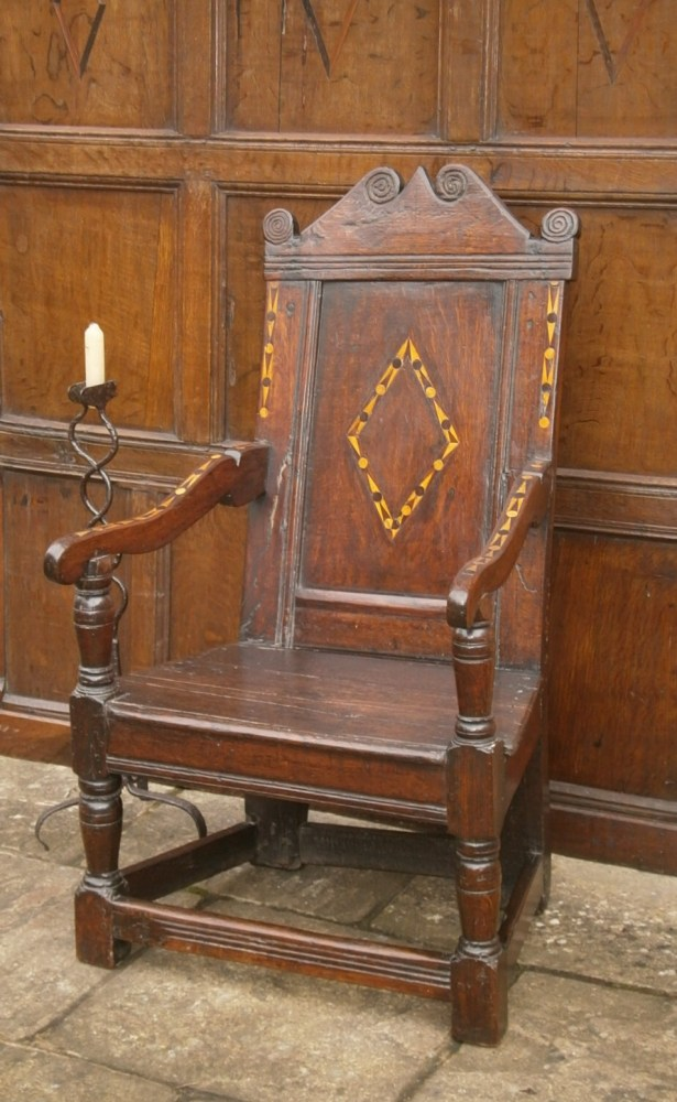 A 17th Century Inlaid Oak Joined Wainscot Chair