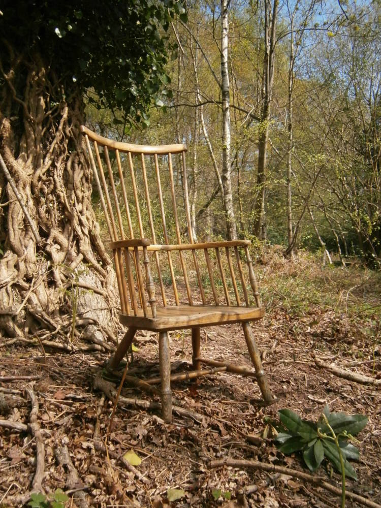 An Early 19th Century Ash And Elm Primitive Stick Back Winsor Chair