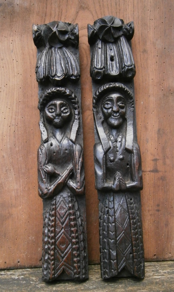 A Pair Of Elizabethan Carved Oak Caryatids
