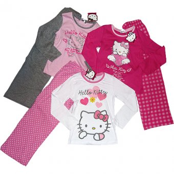 Hello Kitty PJs for girls age 10 years in white and pink.