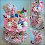 2 tier Nappy Cake in pink with bouquet
