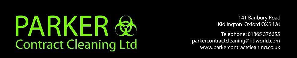 Parker Contract Cleaning Ltd, site logo.