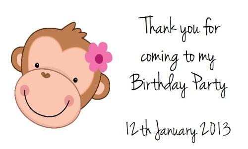 Monkey Girl Birthday Labels