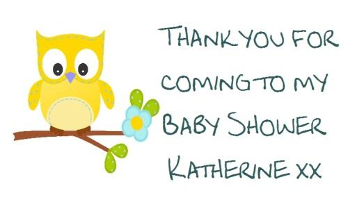 Yellow Baby Owl baby shower label