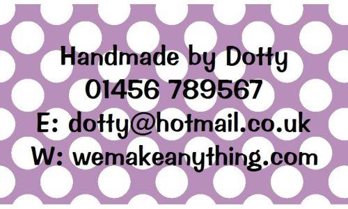 Polka Dot Designs 63mm x 38mm in Lilac
