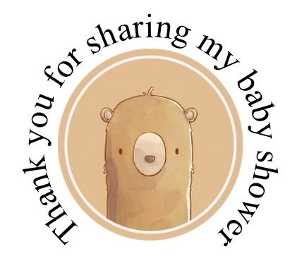 Round cute bear labels 48 per set 45mm for baby shower