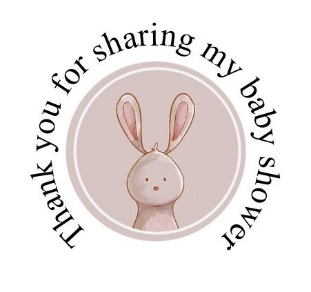 Round cute Rabbit labels 48 per set 45mm for baby shower