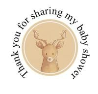 Round cute Deer labels 48 per set 45mm for baby shower