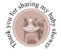 Round cute Racoon labels 48 per set 45mm for baby shower