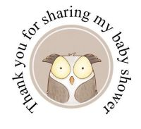 Round cute Owl labels 48 per set 45mm for baby shower