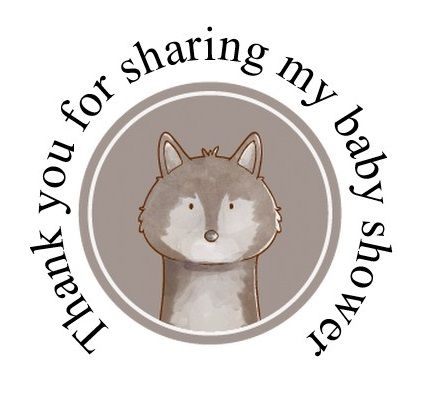 Round cute Fox labels 48 per set 45mm for baby shower