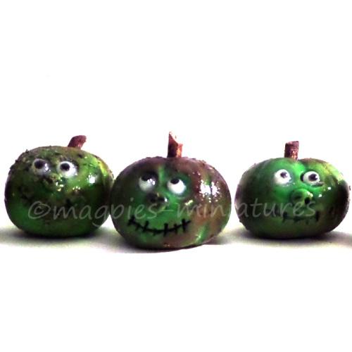 Handmade Green Pumpkin with face