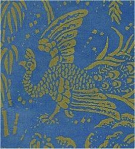 Peacocks, Gold on Blue