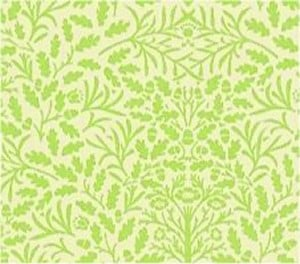 Wallpaper Acorns, Green on Cream background