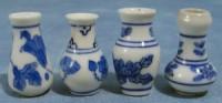 Set of 4 Blue Floral Vases