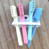 Set Of 4 Toothbrushes in a Rack